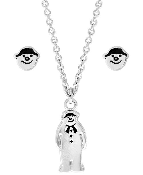Snowman Pendant Necklace and Earring Set