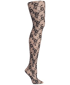 DKNY Floral-Lace Tights