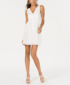 Bar III Sleeveless Illusion-Stripe Fit & Flare Dress, Created for Macy's