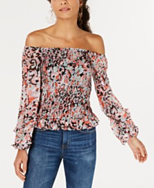 Bar III Off-The-Shoulder Printed Smocked Top, Created for Macy's
