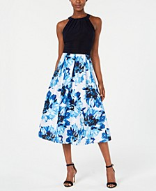 Solid & Floral-Print Halter Dress