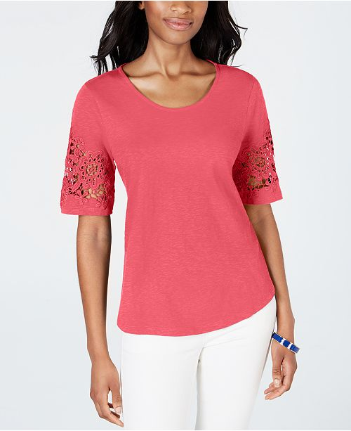 Charter Club Petite Cotton Lace-Sleeve Top, Created for Macy's
