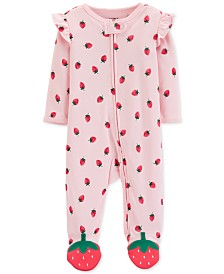 Carter's Baby Girls Strawberry-Print Footed Cotton Pajamas