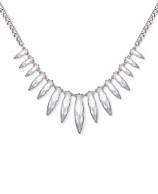 "GUESS Silver-Tone Crystal Statement Necklace, 15"" + 2"" extender"