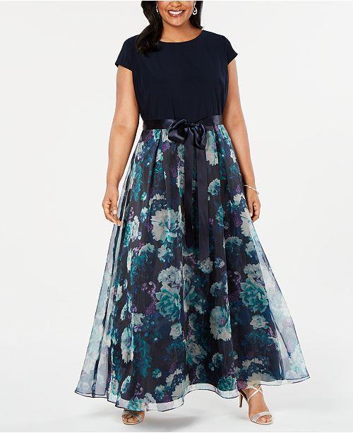 SL Fashions Plus Size Floral-Skirt Gown & Reviews - Dresses ...
