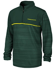 Colosseum Big Boys Oregon Ducks Striped Mesh Quarter-Zip Pullover