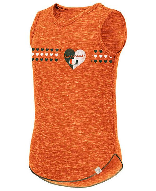 Colosseum Big Girls Miami Hurricanes Distressed Heart Tank Top