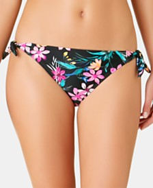 California Waves Juniors' Burgundy Wildflower Printed Side-Tie Hipster Bottoms, Created for Macy's
