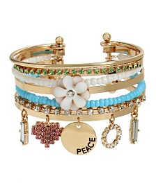 BCBGeneration Flower Multi Charm Cuff Bracelet