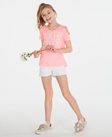 Epic Threads Big Girls Cold Shoulder T-Shirt & Denim Shorts, Created for Macy's