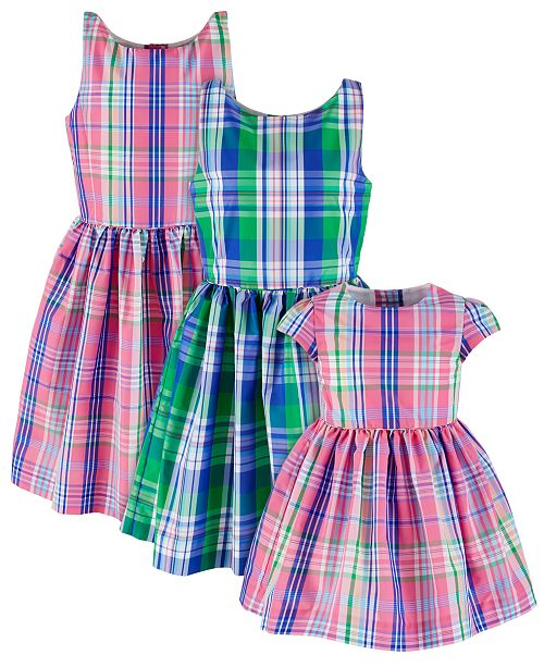 Polo Ralph Lauren Polo Ralph Sisters Plaid Fit & Flare Dresses, Created for Macy's