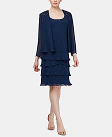 SL Fashions Embellished Tiered-Hem Dress & Jacket