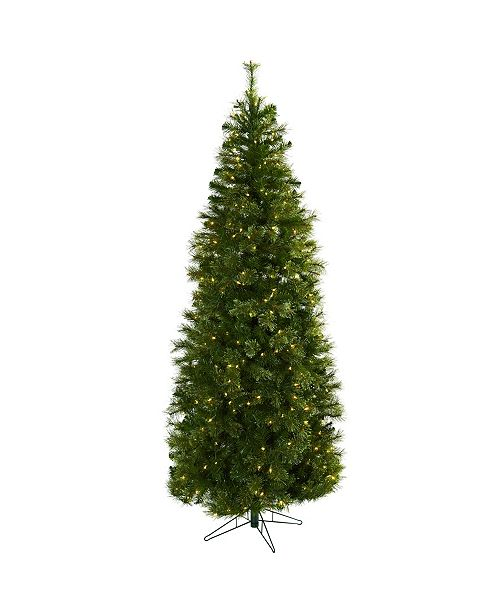 Nearly Natural 7.5' Cashmere Slim Christmas Tree w/Clear Lights