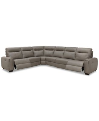 Cheadle 6-Pc. Leather L Sectional Sofa with 2 Power Recliners, Created for  Macy\'s
