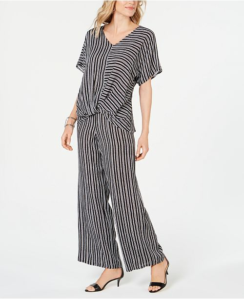 JM Collection Striped Twist-Hem Top & Wide-Leg Pants, Created for Macy's
