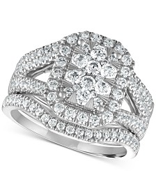 Diamond Cluster 3-Piece Bridal Set (1-1/2 ct. t.w.) in 14k White Gold