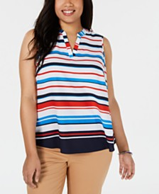Charter Club Plus Size Striped Top, Created for Macy's