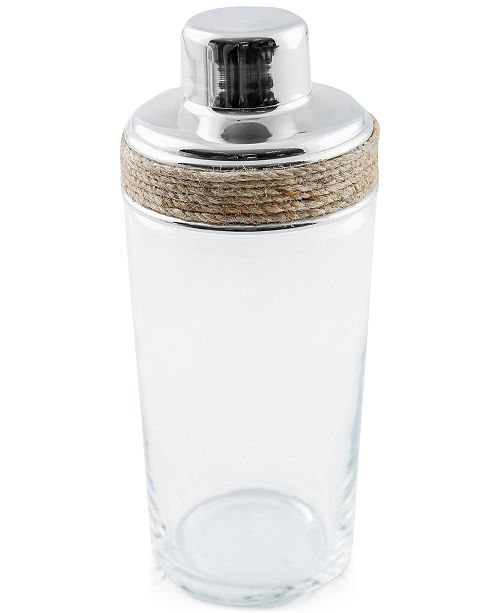 Thirstystone CLOSEOUT Glass cocktail shaker with Rope Detail
