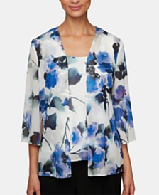 Alex Evenings Petite Floral-Print Jacket & Top Set