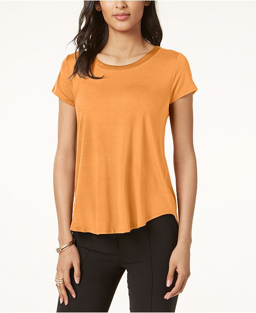 d4472e05 Alfani Satin-Trim High-Low T-Shirt, Created for Macy's & Reviews ...