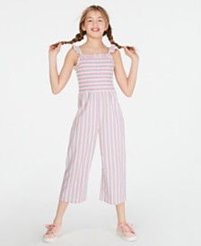 Epic Threads Big Girls Smocked Striped Jumpsuit, Created for Macy's