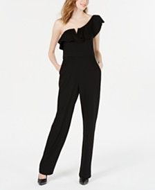 Teeze Me Juniors' Ruffled One-Shoulder Jumpsuit