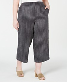 Eileen Fisher Plus Size Wide-Leg Cropped Pants