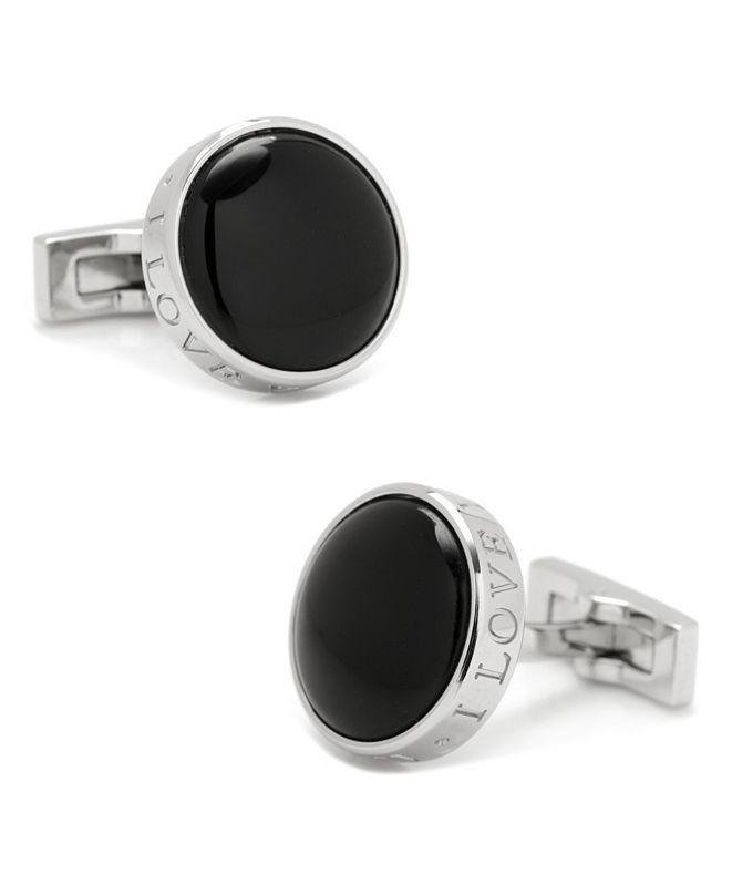 Cufflinks Inc. Onyx I Love You Stainless Steel Cufflinks