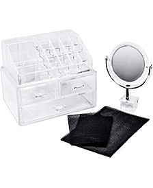 Cosmetic Makeup and Jewelry Storage Case Display With Mirror