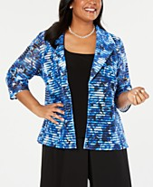 9f884d5bcca Alex Evenings Plus Size Printed Open-Front Jacket   Sleeveless Top