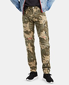 Men's Leopard Camo Tapered Fit Lo Ball Stacked Jeans