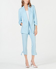 Ruche Sleeve Blazer & Side Tie Ankle Pant