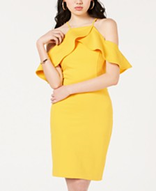 XOXO Colorblocked Cold-Shoulder Dress