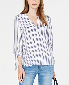 Double Stripe Tie-Sleeve Top, Regular & Petite Sizes