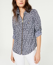 MICHAEL Michael Kors Printed Zip-Up Top, Regular & Petite Sizes
