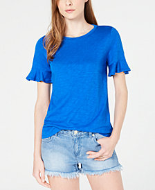 MICHAEL Michael Kors Textured Ruffle-Sleeve T-Shirt, Regular & Petite Sizes