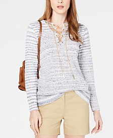MICHAEL Michael Kors Chain Lace-Up Tunic Sweater, Regular & Petite Sizes