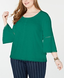 20e87556b4a Style   Co Plus Size Crochet-Trim Bell-Sleeve Top