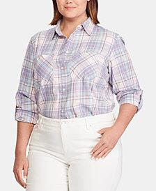 Lauren Ralph Lauren Plus Size Plaid Cotton Shirt