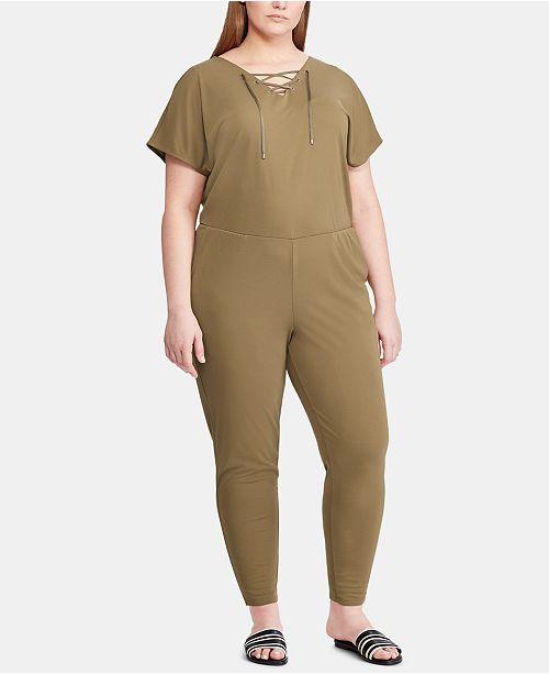 Lauren Ralph Lauren Plus Size Lace-Up Jumpsuit