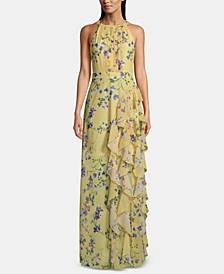 Petite Floral-Print Ruffle Gown
