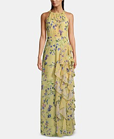 Betsy & Adam Petite Floral-Print Ruffle Gown