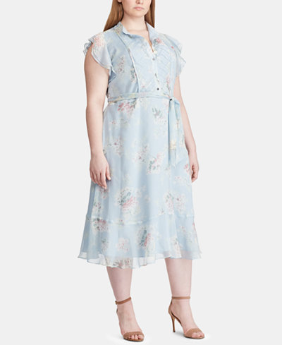 Lauren Ralph Lauren Plus Size Flutter-Sleeve Georgette Dress