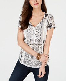 Style & Co Petite Crochet-Trim Top, Created for Macy's