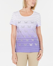 Karen Scott Petite Ombré Butterfly T-Shirt, Created for Macy's