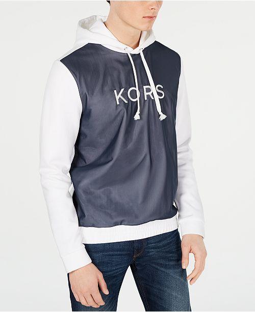 Michael Kors Men's Colorblocked Mesh Overlay Logo Hoodie