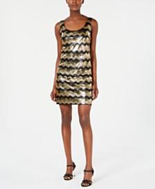 Calvin Klein Sequined Chevron Dress