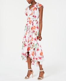 Calvin Klein Floral-Print High-Low Maxi Dress