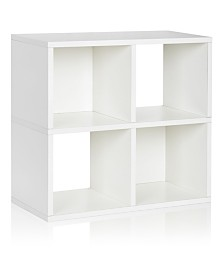 Way Basics Eco 4 Cubby Bookcase, Stackable Organizer and Storage Shelf