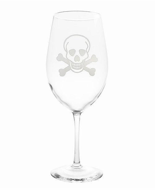 Rolf Glass Skull and Cross Bones All Purpose Wine Glass 18Oz - Set Of 4 Glasses